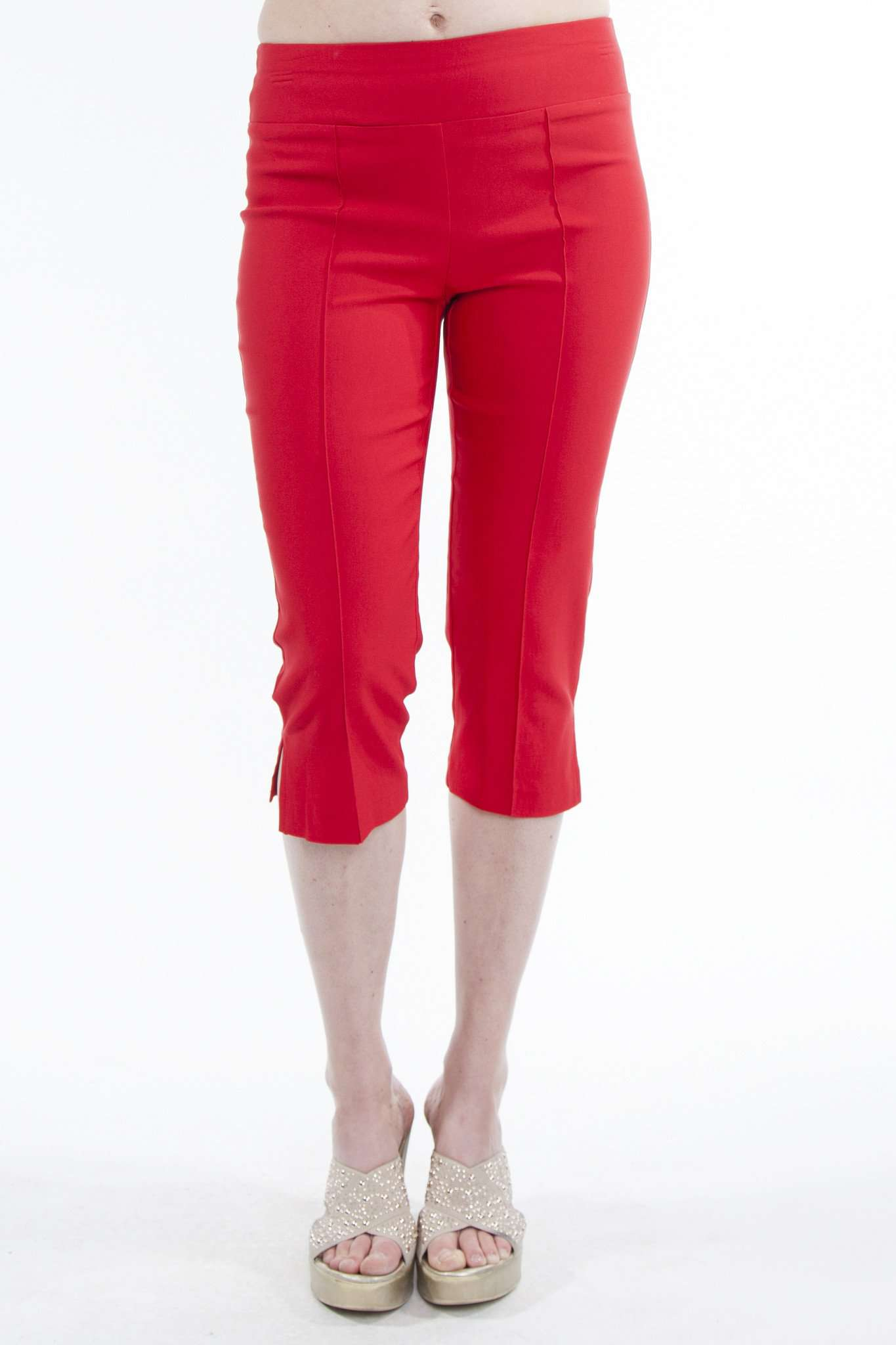 Red Capri Pants in Quality Stretch Fabric-Flat Front Helps to Hide Tummy Area-Made in Canada - Yvonne Marie