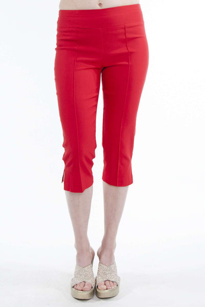 Red Capri Pants in Quality Stretch Fabric-Flat Front Helps to Hide Tummy Area
