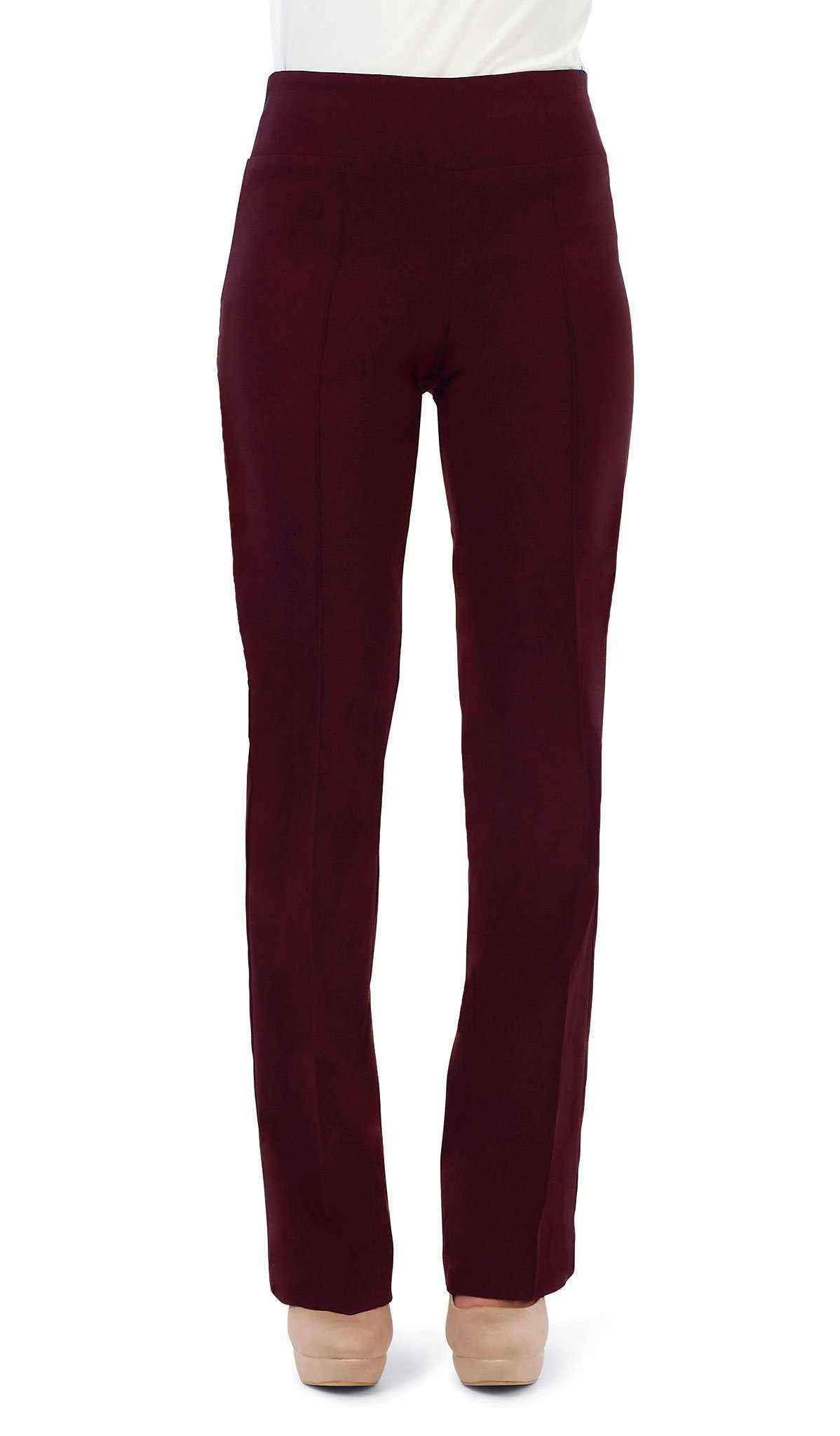 "Women's Pants Wine ""Miracle Fit"" Stretch Pant -Made in Canada - Yvonne Marie - Yvonne Marie"