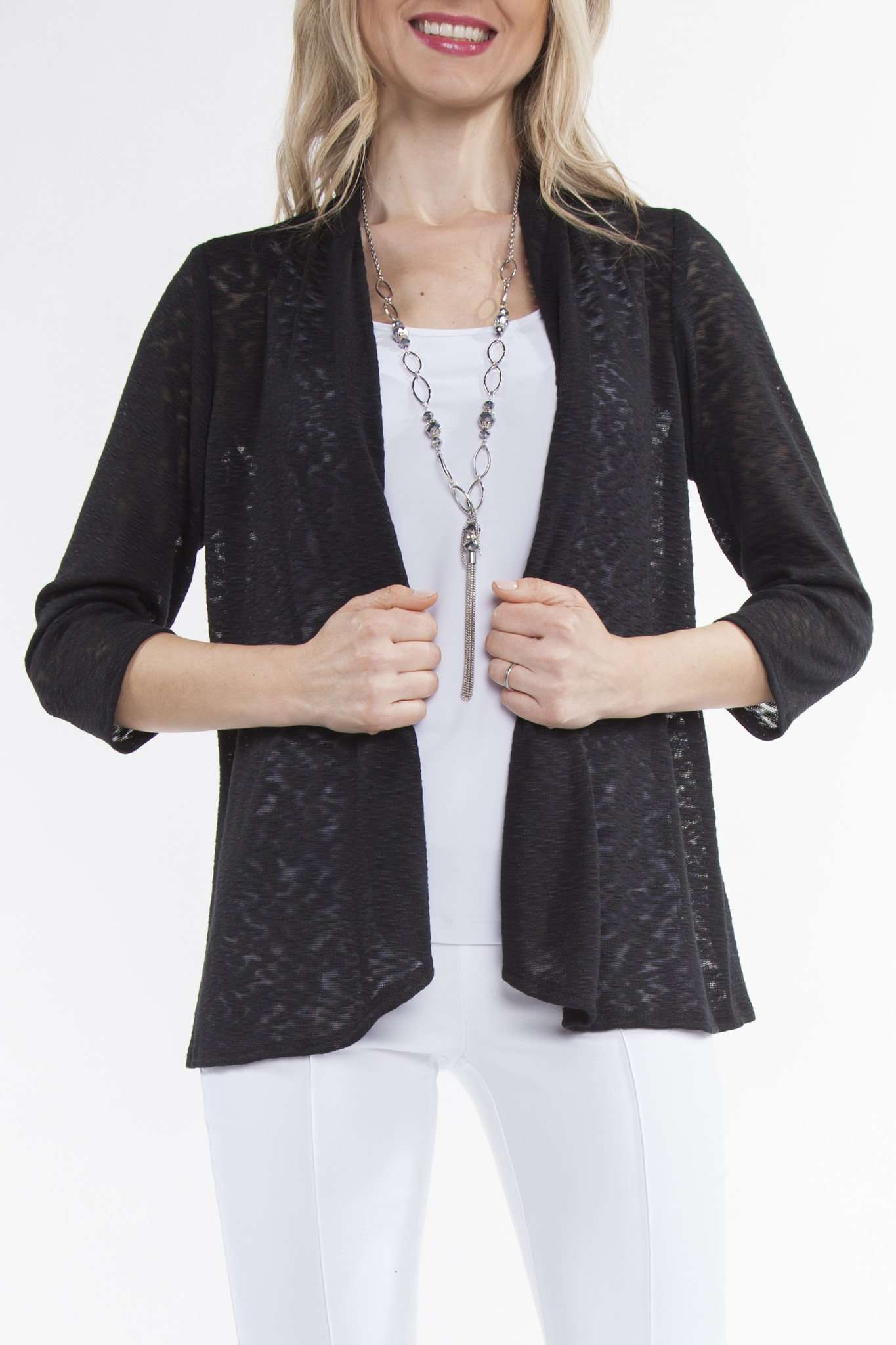 Cardigan in Soft Black Stretch Knit Fabric-Quality Guaranteed-Wardrobe Essential-Travel Friendly - Yvonne Marie