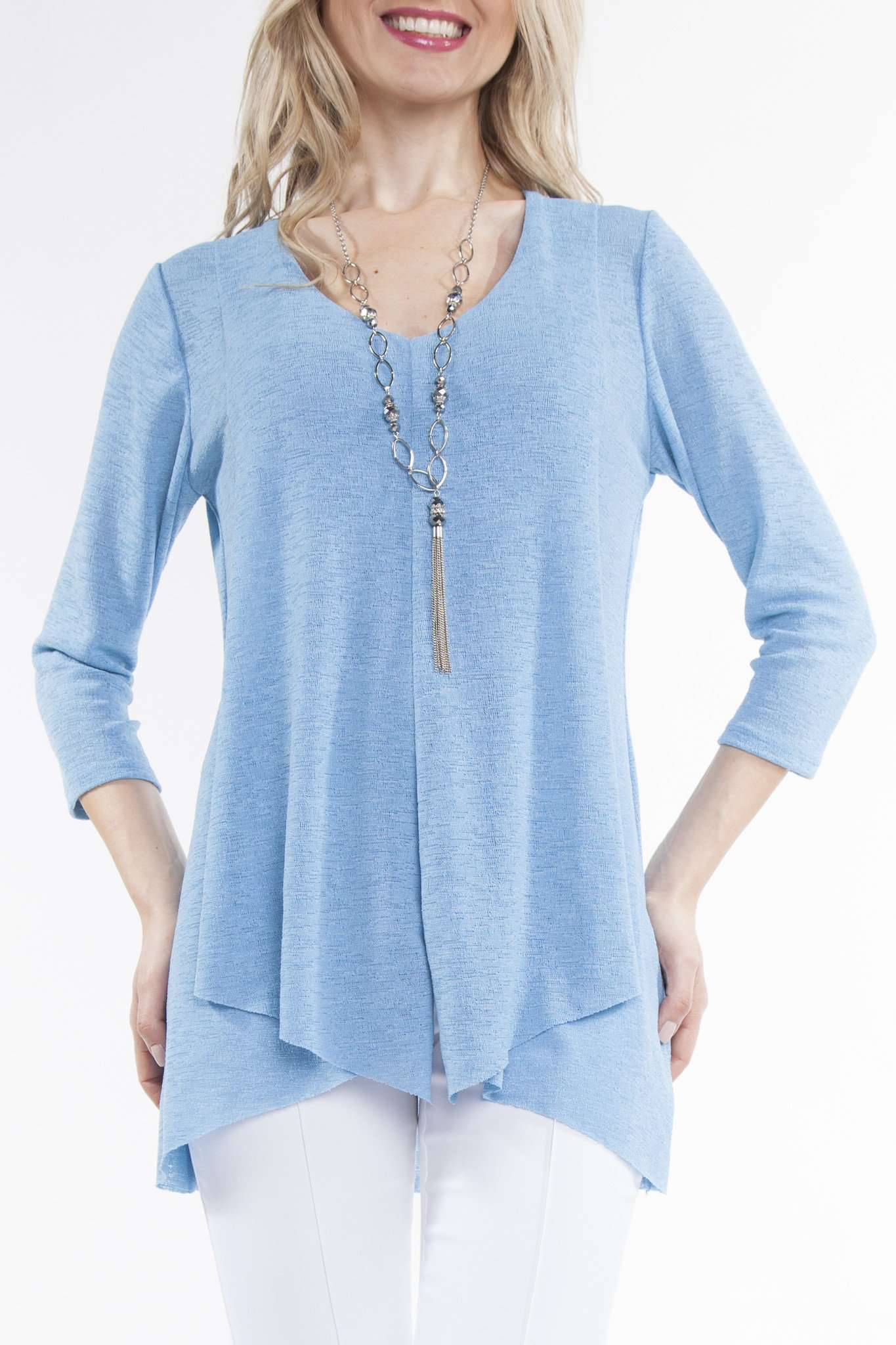 Women's Blue Flattering Flyaway Tunic - Made in Canada - Shop Local - Yvonne Marie - Yvonne Marie