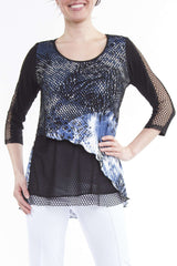 Women's Designer Tunic Blue with Mesh Sleeve Detail = Made in Canada - Yvonne Marie - Yvonne Marie
