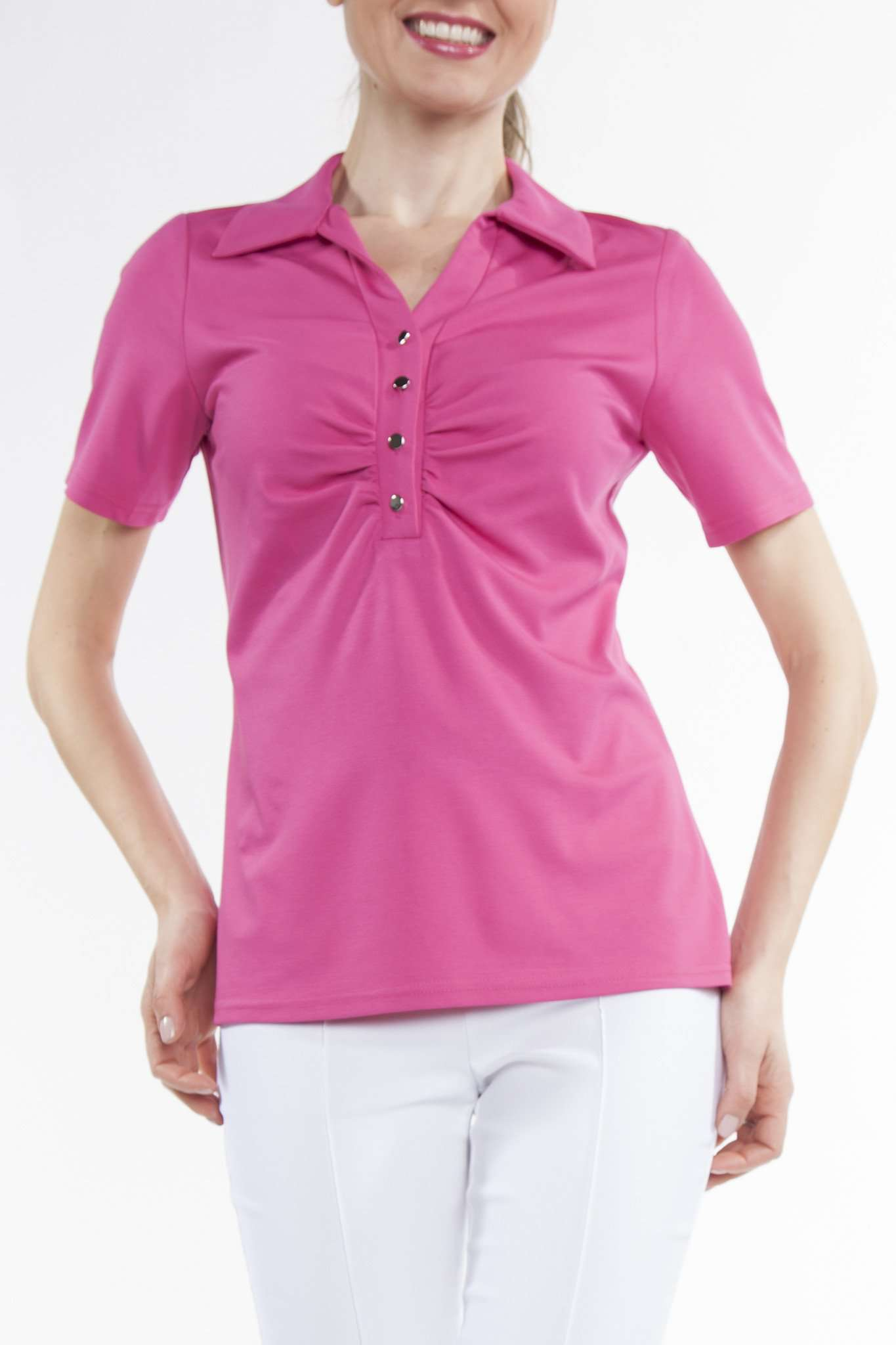 Women's Polo Top Pink with Button Front - Made in Canada - Yvonne Marie - Yvonne Marie