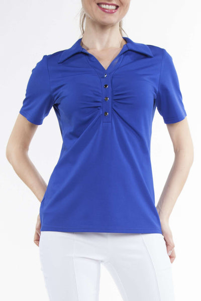 Women's Polo Top | Royal Blue Polo Top | Tops for Golf | YM Style
