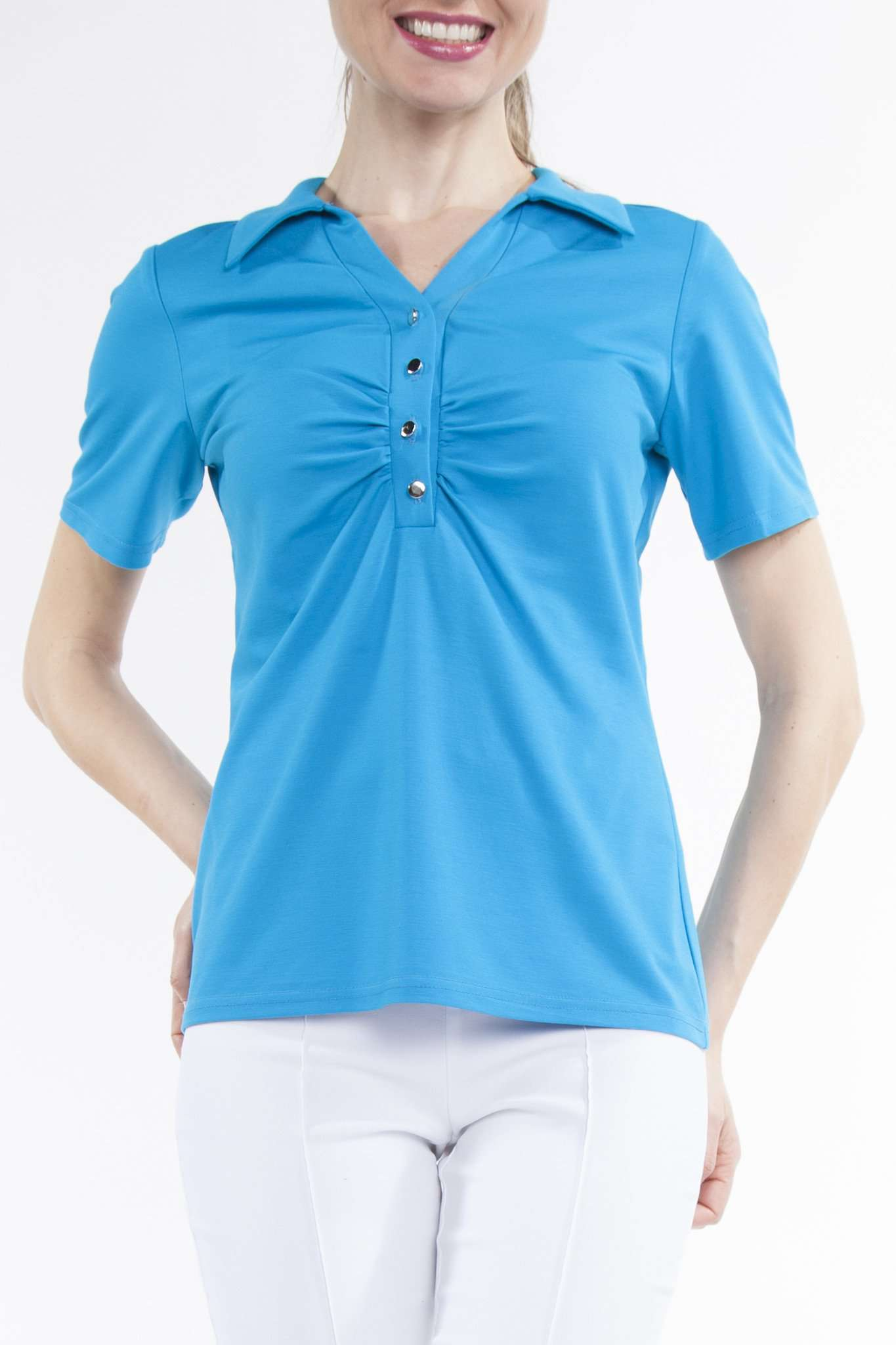 Women's Polo Top Turquoise - Made in Canada - Yvonne Marie - Yvonne Marie