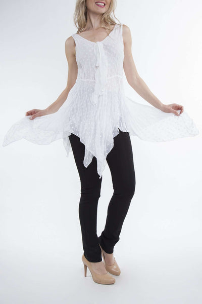 White Layered Tunic Blouse Great for Travel