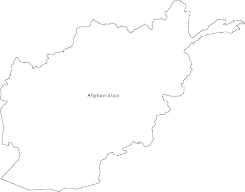 Digital Black & White Afghanistan map in Adobe Illustrator EPS vector format
