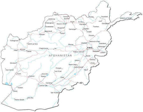 Afghanistan Black & White Map with Capital, Major Cities, Roads, and Water Features