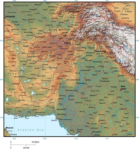 Afghanistan & Pakistan Map with Provincial Boundaries plus Terrain