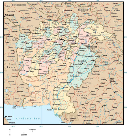 Afghanistan & Pakistan Map with Provinces