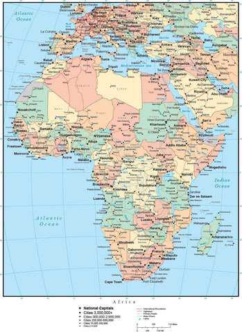 Africa Map with Countries, Capitals, Cities, Roads and Water Features