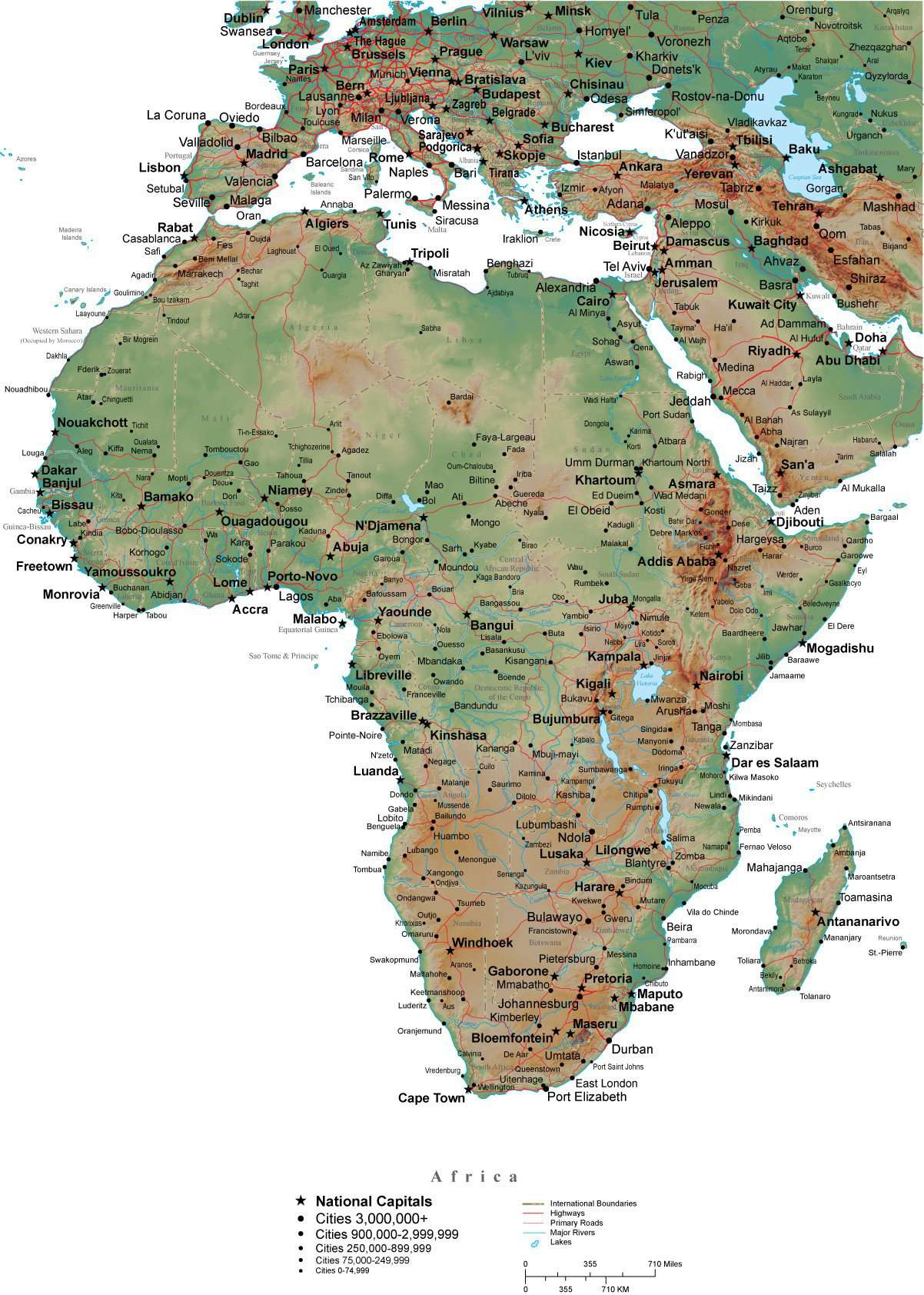 Map Of Africa Land Features.Africa Terrain Map In Adobe Illustrator Vector Format With Photoshop