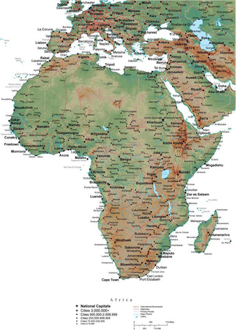 Africa Terrain map in Adobe Illustrator vector format with Photoshop terrain image AFRICA-542904