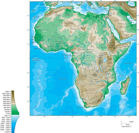 Digital Africa Contour map in Adobe Illustrator vector format.