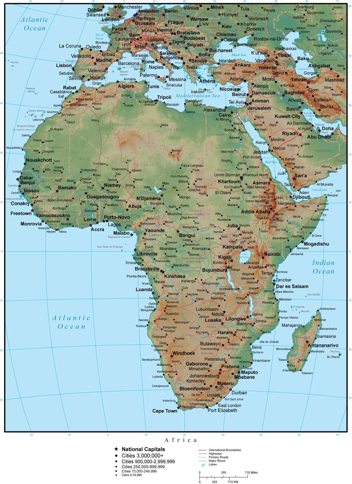 Africa Terrain map in Adobe Illustrator vector format with