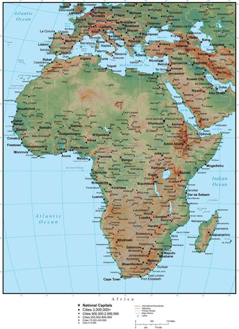 Africa Terrain map in Adobe Illustrator vector format with Photoshop terrain image AFRICA-952805