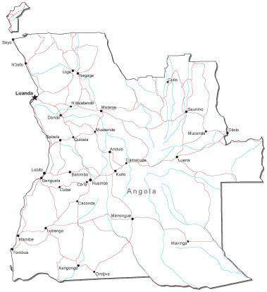 Angola Black & White Map with Capital, Major Cities, Roads, and Water Features