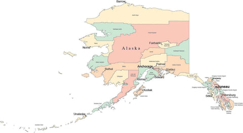 Alaska map in Adobe Illustrator digital vector format with Counties County Names and Cities