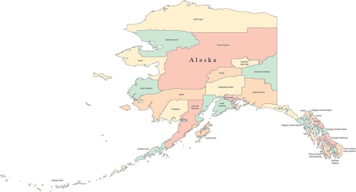 Digital AK Map with Counties & County Names - Multi-Color