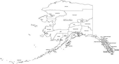 Black & White Alaska County map in Adobe Illustrator digital vector and PowerPoint formats