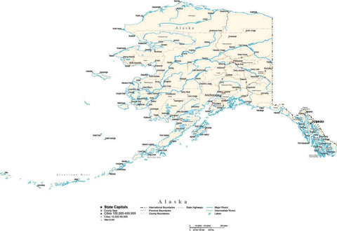 Alaska Map - Cut Out Style - with Capital, County Boundaries, Cities, Roads, and Water Features