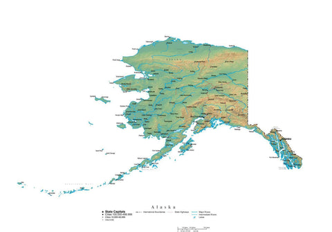 Digital Alaska State Illustrator cut-out style vector with Terrain AK-USA-242007
