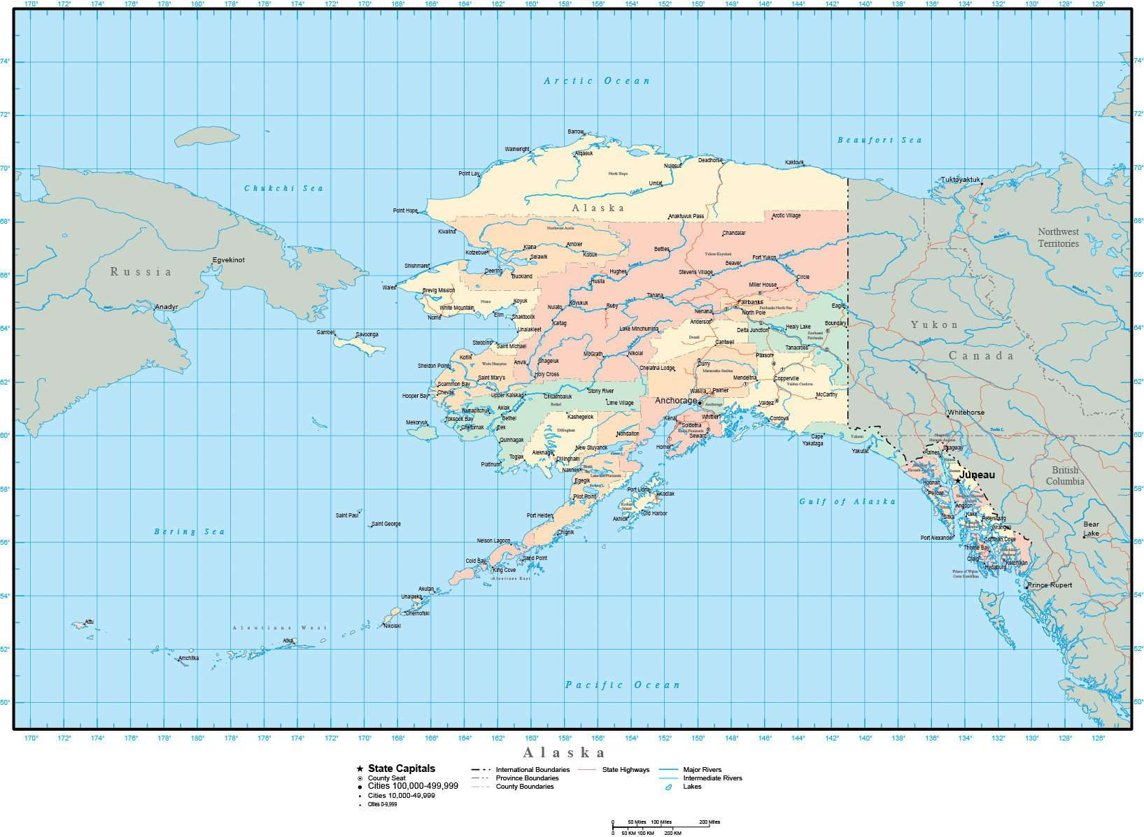 Alaska Map with Counties, Cities, County Seats, Major Roads, Rivers and  Lakes