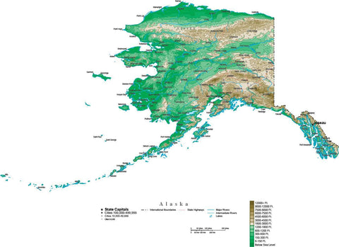 Digital Alaska Contour map in Adobe Illustrator vector format
