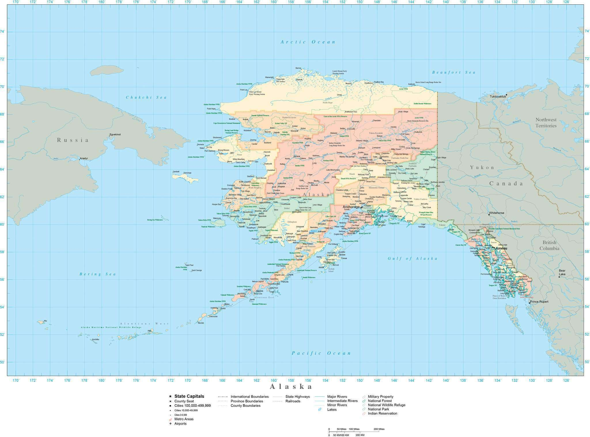 Detailed Alaska Digital Map with Counties, Cities, Highways, Railroads,  Airports, National Parks and more