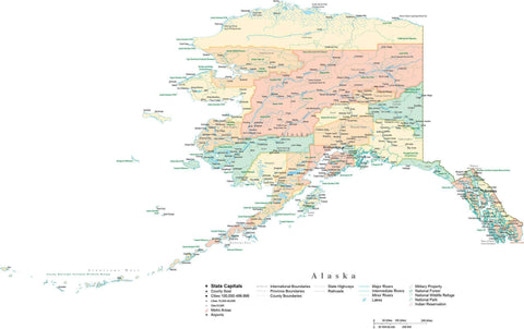 Detailed Alaska Cut-Out Style Digital Map with Counties, Cities, Highways, and more