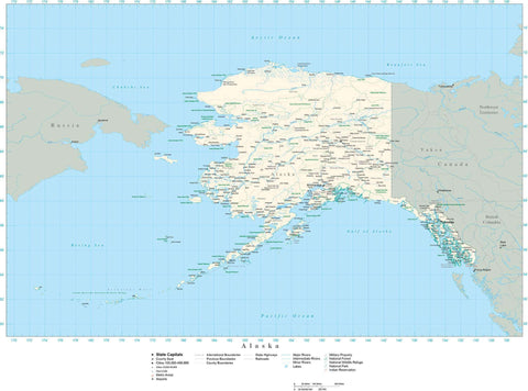 Digital Poster Size Alaska map in Adobe Illustrator vector format Layered editable Royalty-free maps