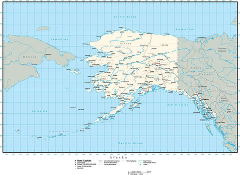 Alaska Map with Capital, County Boundaries, Cities, Roads, and Water Features