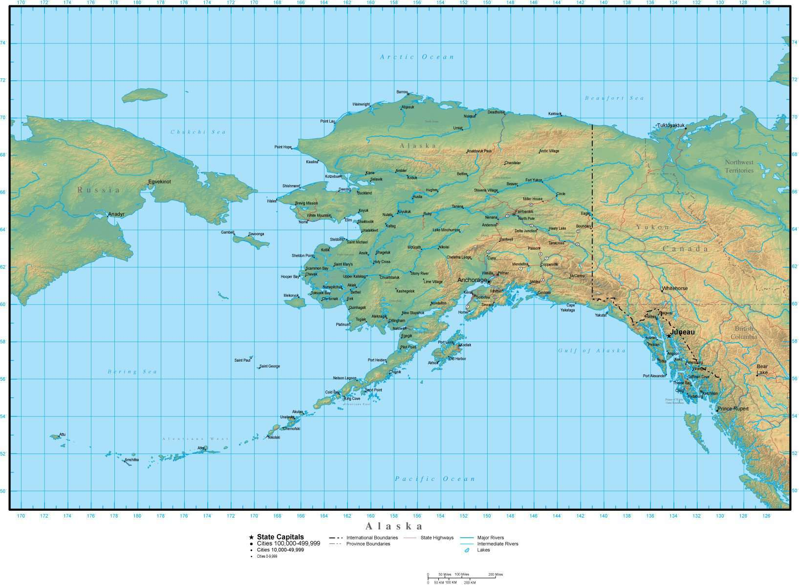 Alaska Map Plus Terrain with Cities Roads and Water Features on texas and alaska map, alaska and klondike gold region map, anchorage alaska on world map, alaska road map, alaska state map, alaska map with cities,