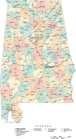 Alabama State Map - Multi-Color Cut-Out Style - with Counties, Cities, County Seats, Major Roads, Rivers and Lakes