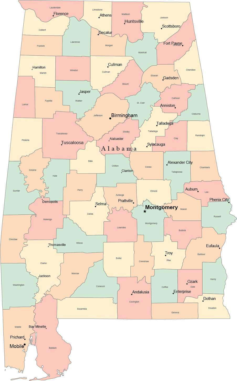 Multi Color Alabama Map with Counties, Capitals, and Major Cities