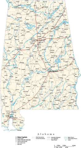Alabama Map - Cut Out Style - with Capital, County Boundaries, Cities, Roads, and Water Features