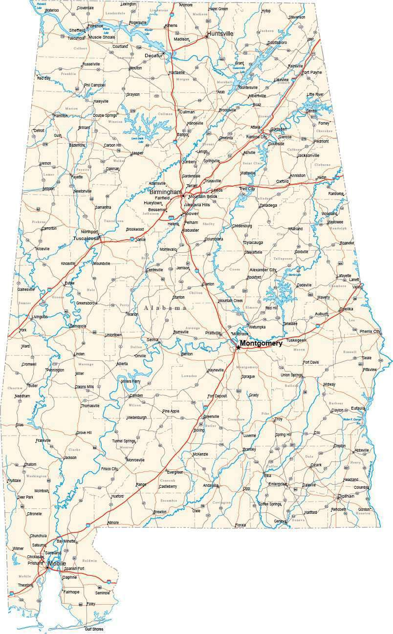 Alabama State Map By County.Alabama State Map In Fit Together Style To Match Other States Al Usa