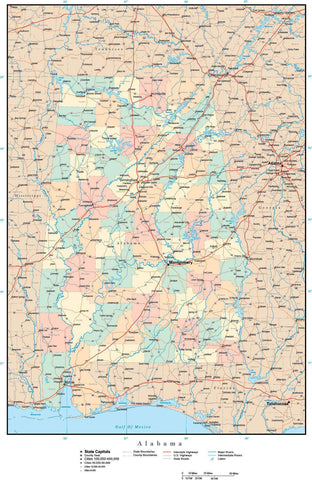 Alabama State Map with Counties, Cities, County Seats, Major Roads, Rivers and Lakes