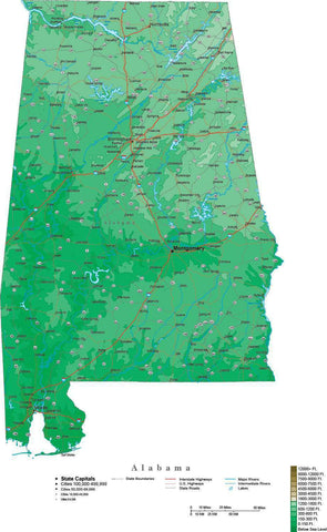 Alabama Map  with Contour Background - Cut Out Style