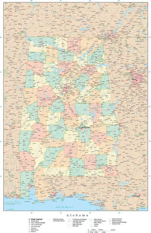Poster Size High Detail Alabama Map with Counties, Cities, Highways, Railroads, Airports, National Parks and more