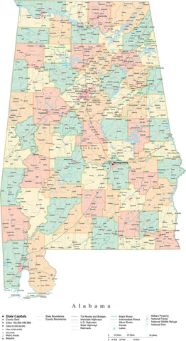 Detailed Alabama Cut-Out Style Digital Map with Counties, Cities, Highways, and more