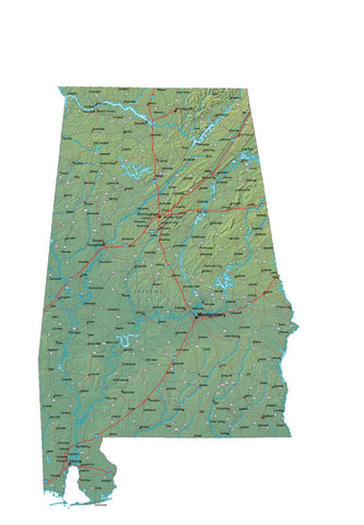 Digital Alabama Terrain map in Fit Together style with Terrain AL-USA-852134