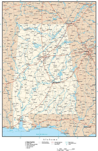 Alabama Map with Capital, County Boundaries, Cities, Roads, and Water Features