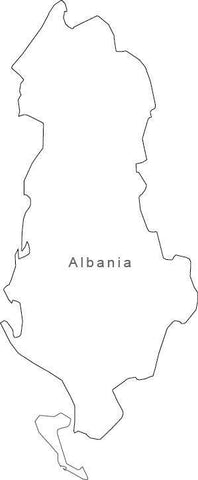 Digital Black & White Albania map in Adobe Illustrator EPS vector format