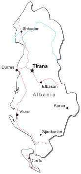 Albania Black & White Map with Capital, Major Cities, Roads, and Water Features