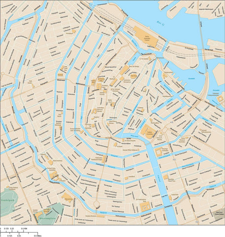 Amsterdam Map Adobe Illustrator Vector Format AMS-XX-985362