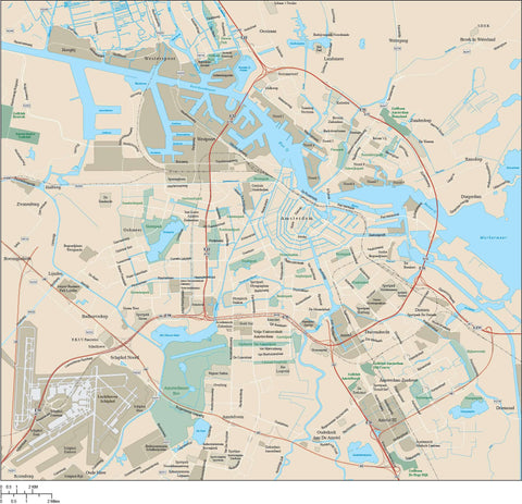 Amsterdam Map Adobe Illustrator vector format AMS-XX-985364