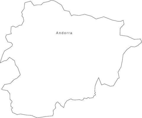 Digital Black & White Andorra map in Adobe Illustrator EPS vector format