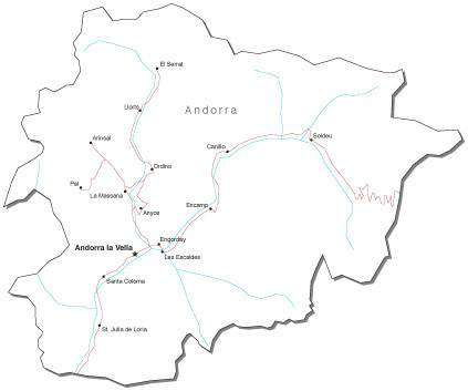 Andorra Black & White Map with Capital, Major Cities, Roads, and Water Features