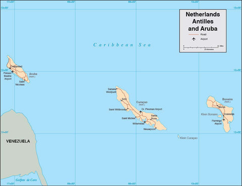Digital Netherlands Antilles map in Adobe Illustrator vector format
